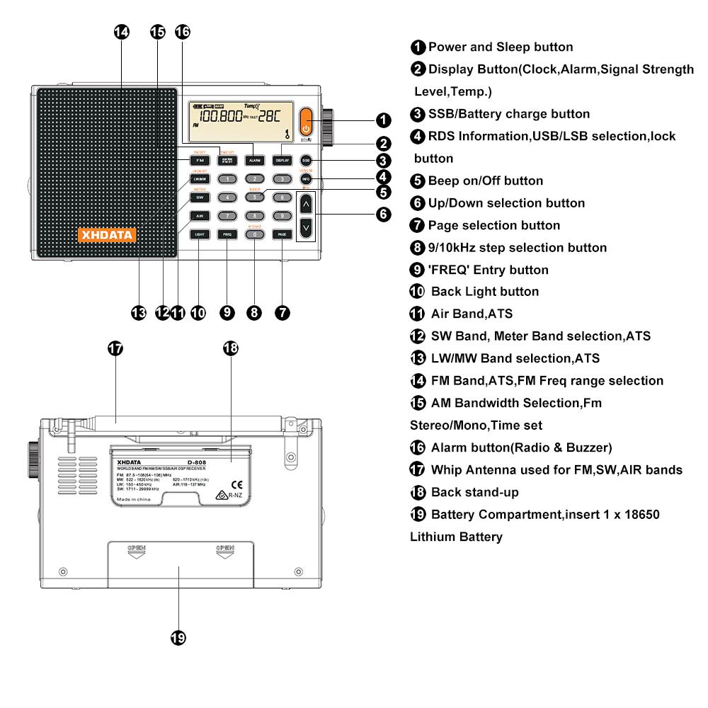 XHDATA D-808 Portable Digital Radio FM stereo/ SW / MW / LW SSB AIR