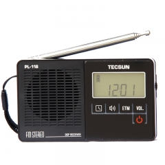 TECSUN PL-118 Ultra-Light Mini Pocket Size Portable Digital Radio FM Stereo DSP ETM Alarm Clock