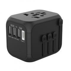XHDATA P-301 Universal Travel Charger Conversion Plug 100-250V 5A International Fast Charger 3 USB Ports+ Type-C Adapter