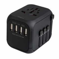 XHDATA P-302 USB Smart Conversion Plug-Universal Travel Power Adapter with US/EU/AU/UK 4 Kinds Standard UAB Plugs Black